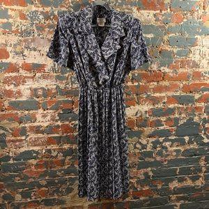 Vintage Navy/White Paisley Lady Carol Dress